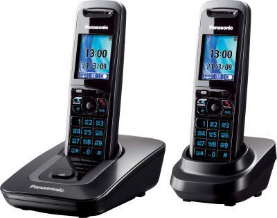 Беспроводной телефон Panasonic KX-TG8412 (Titanium, KX-TG8412RUT) - вид сбоку