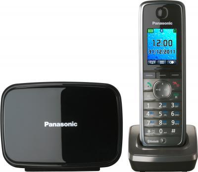 Беспроводной телефон Panasonic KX-TG8611 (серый металлик) - вид спереди