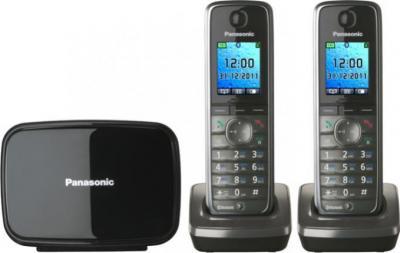 Беспроводной телефон Panasonic KX-TG8612  (Metallic Gray, KX-TG8612RUM) - вид спереди