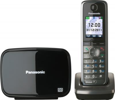 Беспроводной телефон Panasonic KX-TG8621  (серый металлик) - вид спереди