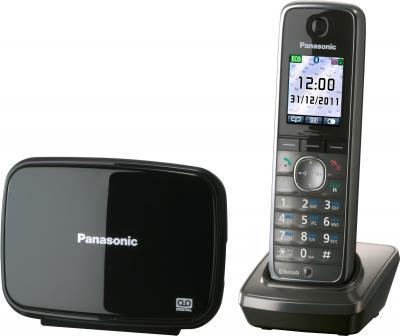 Беспроводной телефон Panasonic KX-TG8621  (серый металлик) - вид сбоку