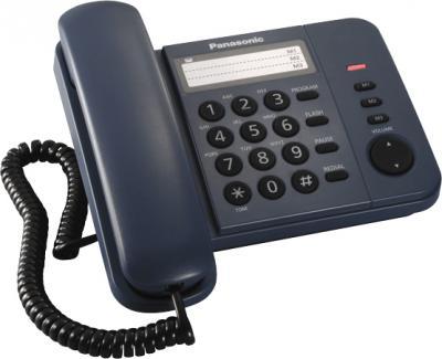 Проводной телефон Panasonic KX-TS2352  (синий) - общий вид