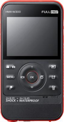 Видеокамера Samsung HMX-W300 Black-Red - фронтальный вид