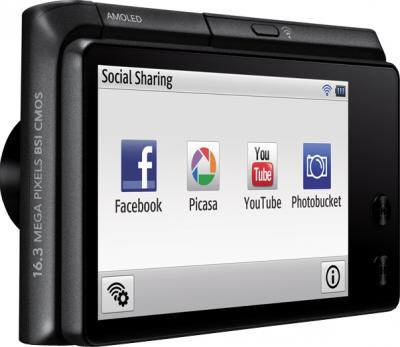 Компактный фотоаппарат Samsung MV900F Black - экран сбоку