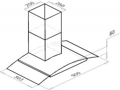 Вытяжка купольная Backer QD90A-G6L160T (Black-Dark Glass) - схематическое изображение