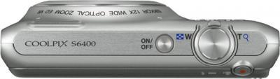 Компактный фотоаппарат Nikon Coolpix S6400 Silver - вид сверху