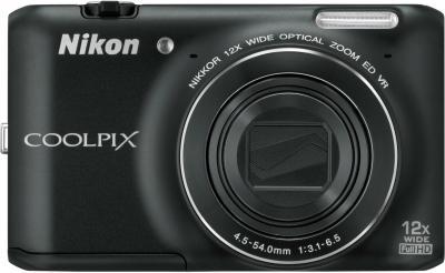 Компактный фотоаппарат Nikon Coolpix S6400 Black - вид спереди