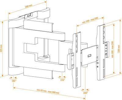 Кронштейн для телевизора Holder LEDS-7017 Black - схематическое изображение