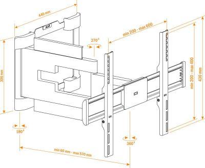 Кронштейн для телевизора Holder LEDS-7027 Black - схематическое изображение