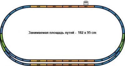 Железная дорога детская Piko Паровоз и 3 пассажирских вагона (57125) - схема путей