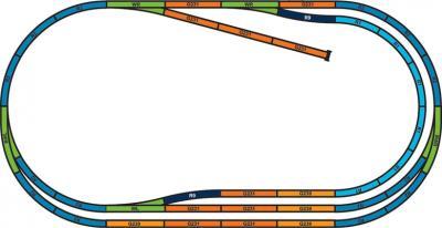 Железная дорога детская Piko Дизель-локомотив, электровоз и 3 грузовых вагона (57175) - схема путей