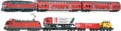 Железная дорога детская Piko Дизель-локомотив, электровоз и 3 грузовых вагона (57175) - общий вид