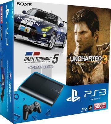 Игровая приставка Sony Playstation 3 (CECH-4008C) + игры GT5 Academy Ed/U3 GOTY - игры Gran Turismo 5/Uncharted 3
