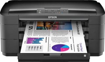 Принтер Epson WorkForce WF-7015 - фронтальный вид (открытый лоток)
