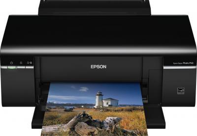 Принтер Epson Stylus Photo P50 - фронтальный вид (открытый лоток)