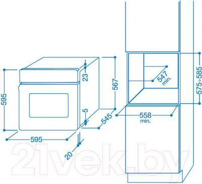 Электрический духовой шкаф Indesit FIMS 20 K.A AX S - схема встраивания