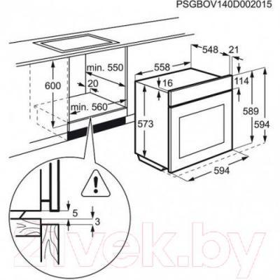 Электрический духовой шкаф Electrolux OPEB4330B - схема встраивания