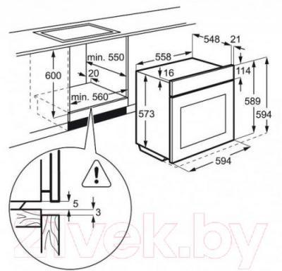 Электрический духовой шкаф Electrolux OPEB4330V - схема встраивания