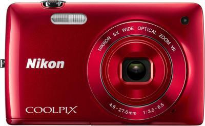 Компактный фотоаппарат Nikon Coolpix S3300 Kit (Red) - вид спереди