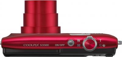 Компактный фотоаппарат Nikon Coolpix S3300 Kit (Red) - вид сверху