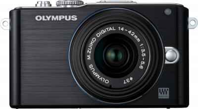 Беззеркальный фотоаппарат Olympus E-PL3 Kit 14-42mm (Black) - вид спереди