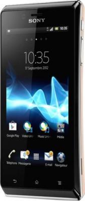 Смартфон Sony Xperia J (ST26i) Gold - полубоком