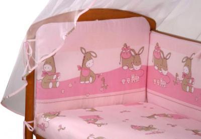 Комплект в кроватку Perina Ева Е4-02.3 (Ослики розовый) - расцветка