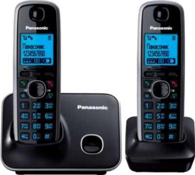 Беспроводной телефон Panasonic KX-TG6612  (Black, KX-TG6612RUB) - вид спереди