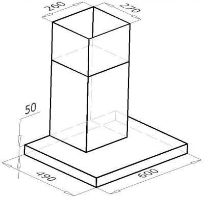 Вытяжка Т-образная Backer CH60A-L (Inox) - схема
