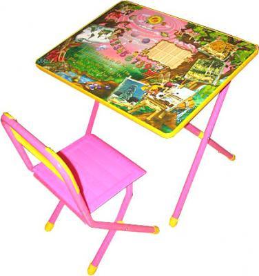 Стол+стул Дэми №2 Феи (розовый) - общий вид