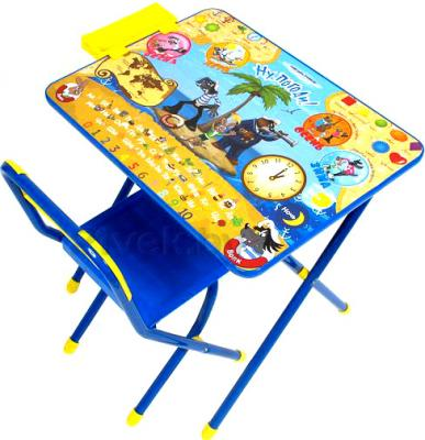 Стол+стул Дэми №3 Ну погоди (синий) - общий вид