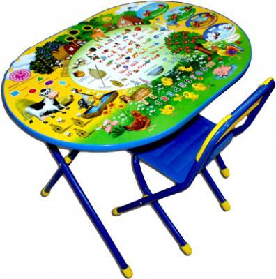 Стол+стул Дэми УЗ-01 Овал: Веселая ферма (синий) - общий вид