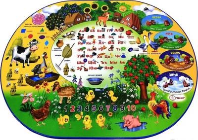 Стол+стул Дэми УЗ-01 Овал: Веселая ферма (синий) - столешница