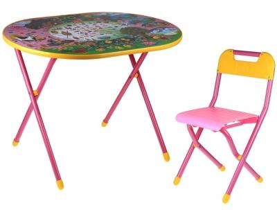 Стол+стул Дэми УЗ-01 Овал: Веселая ферма (розовый) - общий вид