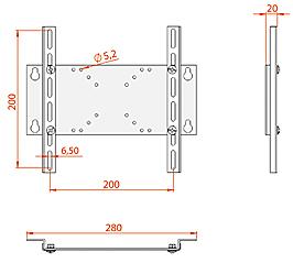 Кронштейн для телевизора Electric Light КБ-01-28 - габаритные размеры
