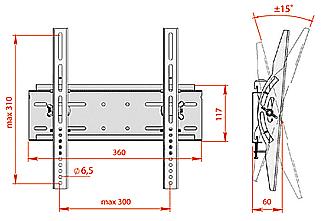 Кронштейн для телевизора Electric Light КБ-01-43 - габаритные размеры