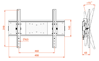 Кронштейн для телевизора Electric Light КБ-01-51 - габаритные размеры