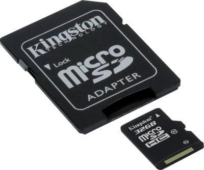 Карта памяти Kingston microSDHC (Class 10) 32GB +адаптер (SDC10/32GB) - общий вид с адаптером SD