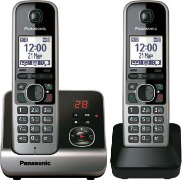Беспроводной телефон Panasonic KX-TG6722  (черный) - общий вид
