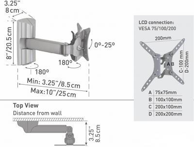Кронштейн для телевизора Barkan 33 - схематическое изображение