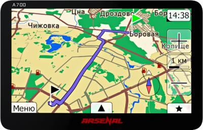 GPS навигатор Arsenal A700 - вид спереди