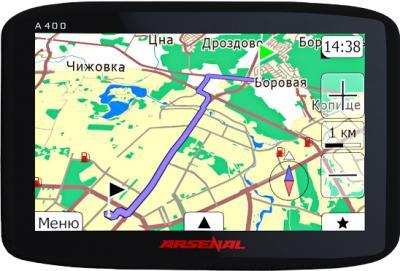 GPS навигатор Arsenal A400 - вид спереди