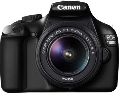 Зеркальный фотоаппарат Canon EOS 1100D Kit 18-55mm IS II Black (с комплектом SD 8GB+100EG+LC) - вид спереди