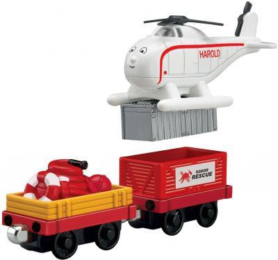 Элемент железной дороги Fisher-Price Новые истории: Гарольд + 2 вагончика (R9466/T4761) - общий вид