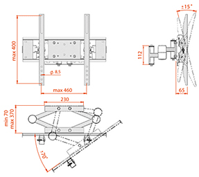 Кронштейн для телевизора Electric Light КБ-01-55 - габаритные размеры