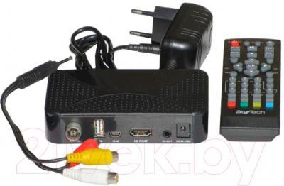Тюнер цифрового телевидения Skytech 97G DVB-T2 - вид сзади и пульт ДУ