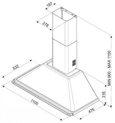 Вытяжка купольная Smeg KT110BL - схема