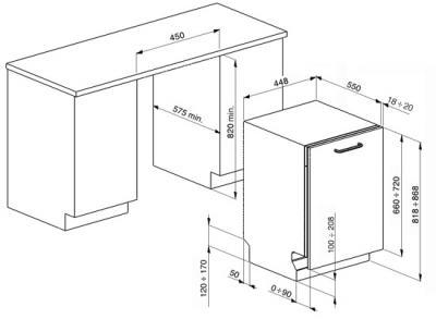 Посудомоечная машина Smeg STA4648 - схема встраивания