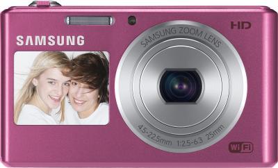 Компактный фотоаппарат Samsung DV150F (EC-DV150FBPPRU) (Pink) - вид спереди