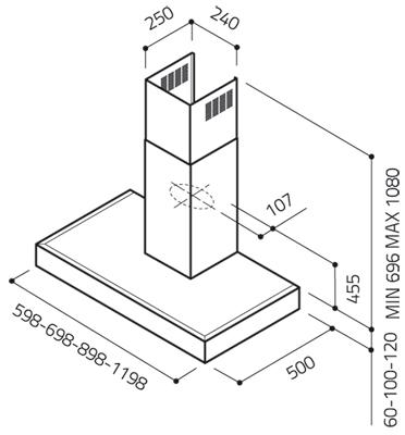 Вытяжка Т-образная Elica Spot H6 IX A/60 - схема